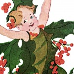 Adorable Christmas Holly Flower Children Print from 1910
