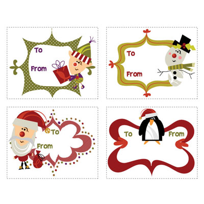 Printable Retro Christmas Tags for Kids