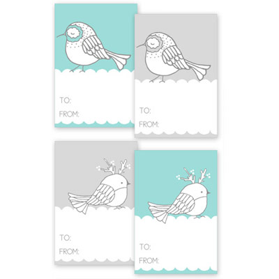 Winter Bird Gift Tags from Creature Comforts