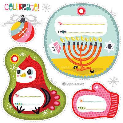 Printable Christmas and Hanukkah tags from Orange you Lucky
