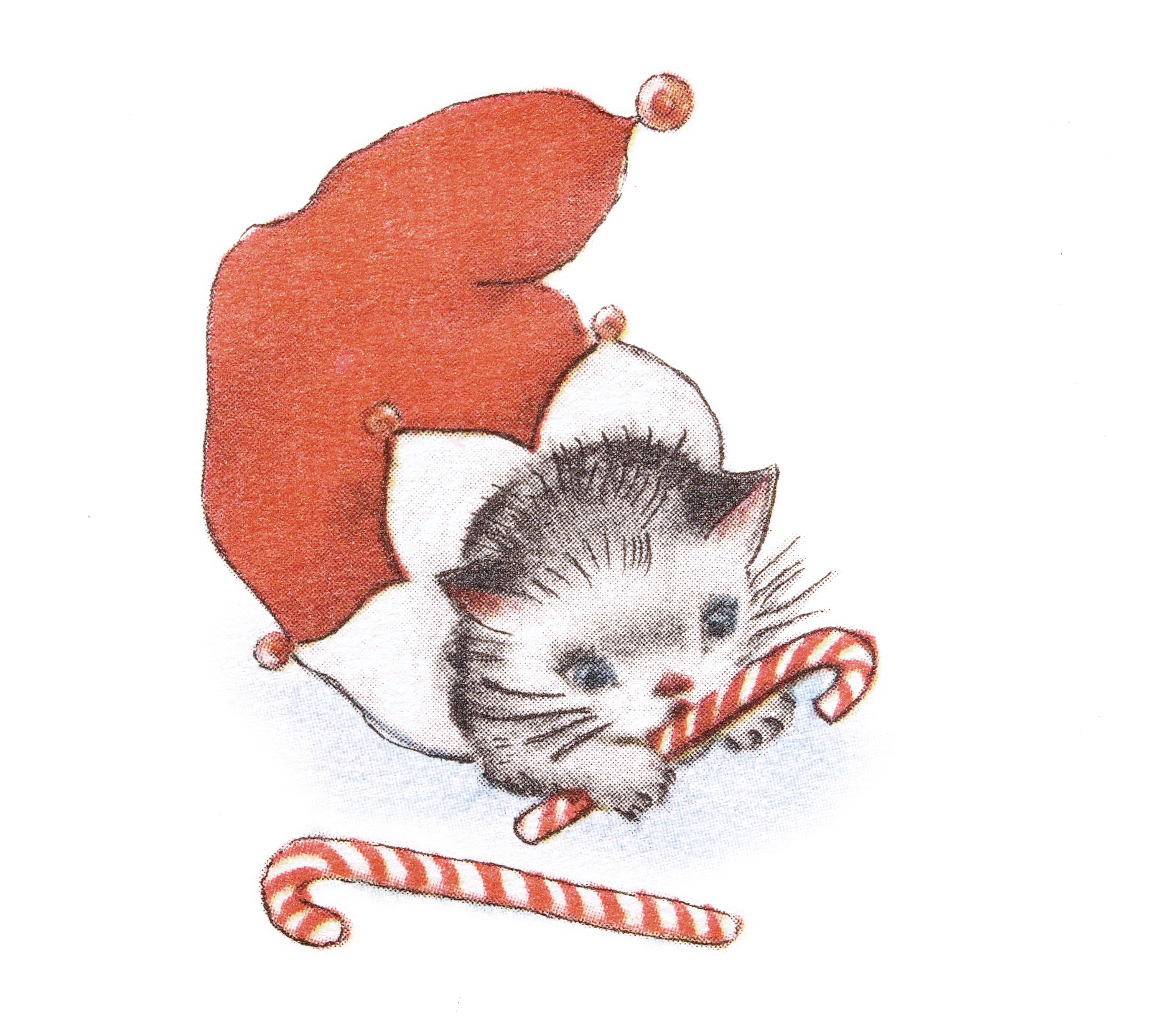 printable retro christmas card of a kitten in a stocking vintage