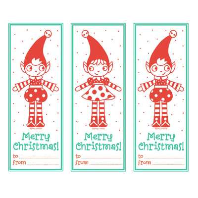 Retro Red & Aqua Elf Tags from Allsorts