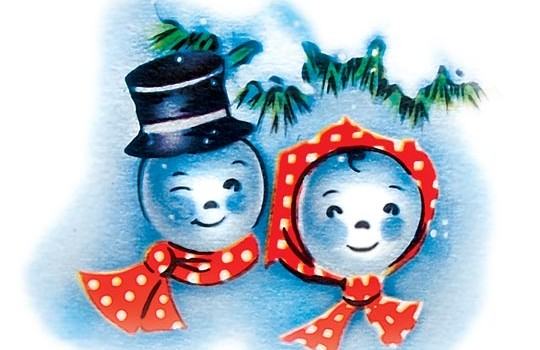 Retro Snowman and Snowwoman Image from the 1950s