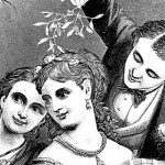 A Romantic Victorian Christmas Clip Art Image of People with Mistletoe