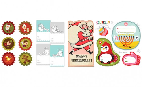 10 Sets Of Printable Retro Vintage Christmas And Holiday Gift Tags