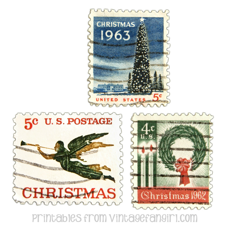 image about Stamps Printable named Printable Basic Xmas Postage Stamps @ Classic Fangirl
