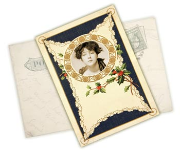 Vintage Christmas Postcard Photo Frame