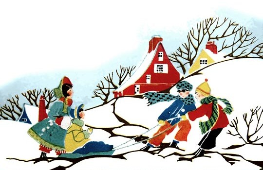 Vintage Christmas Card - Scene of Children Sledding