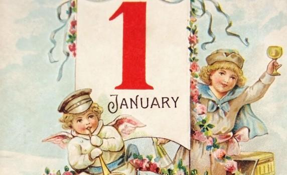 vintage early 1900s happy new year postcard