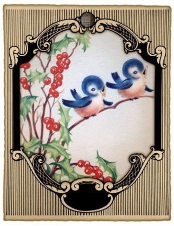 Vintage Christmas Card Printable - Blue Birds & Holly