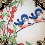 Vintage Christmas Bluebirds Printable Card