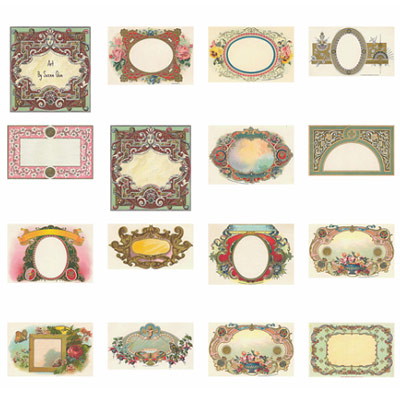 16 Blank Victorian Labels and Tags