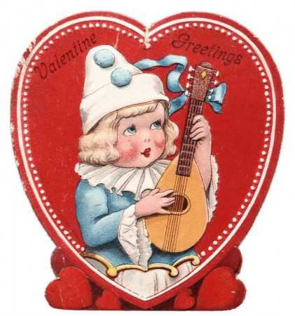 Antique Children's Valentine with a Music Theme