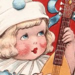 Printable Edwardian Valentine of a Child Playing the Lute