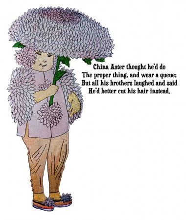 China Aster Flower Children Illustration by Elizabeth Gordon