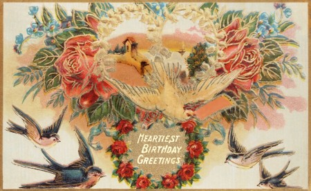 Vintage Victorian Heartiest Birthday Greetings Card 