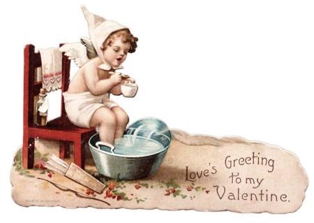 Vintage Victorian Cherub Valentine's Day Card