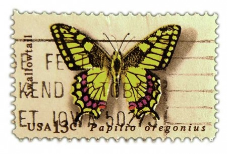 Vintage Postage Stamp Art - 1977 Butterfly Issue Swallowtail