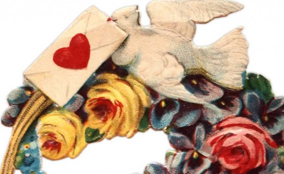 Vintage German Die Cut Valentine Bird and Flower Basket