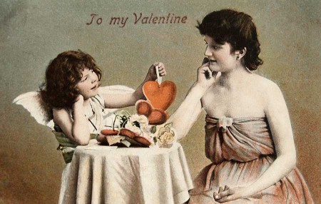 Vintage Hand-Tinted Valentine Photo Postcard