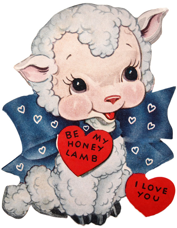 Be My Honey Lamb Vintage Valentine Card