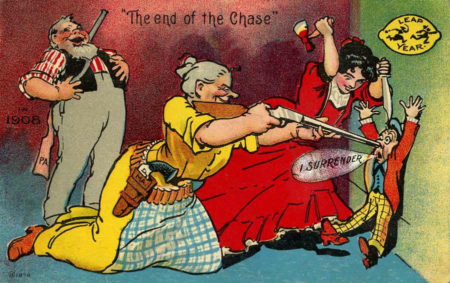 Weird vintage photos vintage fangirl vintage 1908 leap year postcard the end of the chase bookmarktalkfo