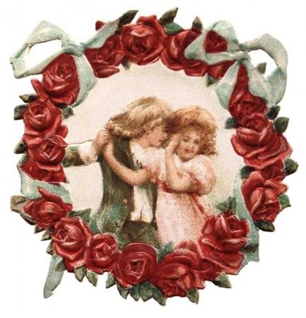 Vintage Victorian Flower Wreath Die Cut Valentine