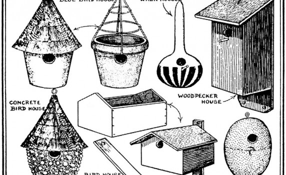 Vintage Clip Art of Handmade Spring Birdhouses