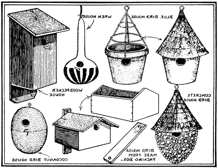 Vintage Clip Art of Handmade Spring Birdhouses REVERSE IMAGE