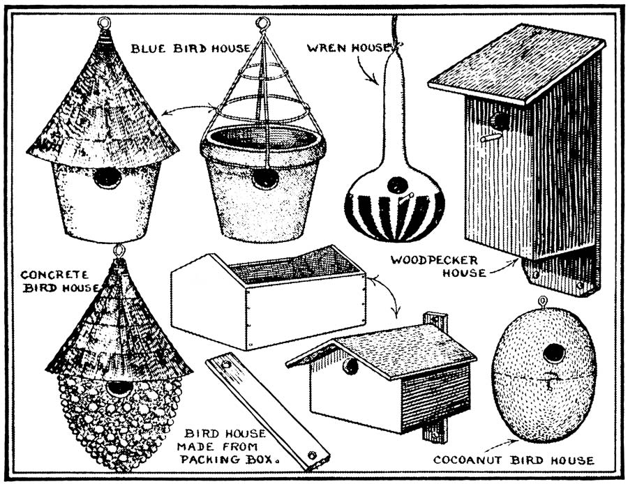 Vintage Clip Art of Handmade Spring Birdhouses