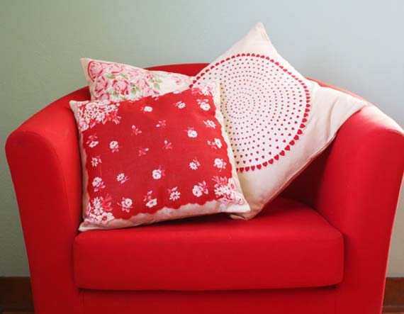 Make a pillow from vintage hankies