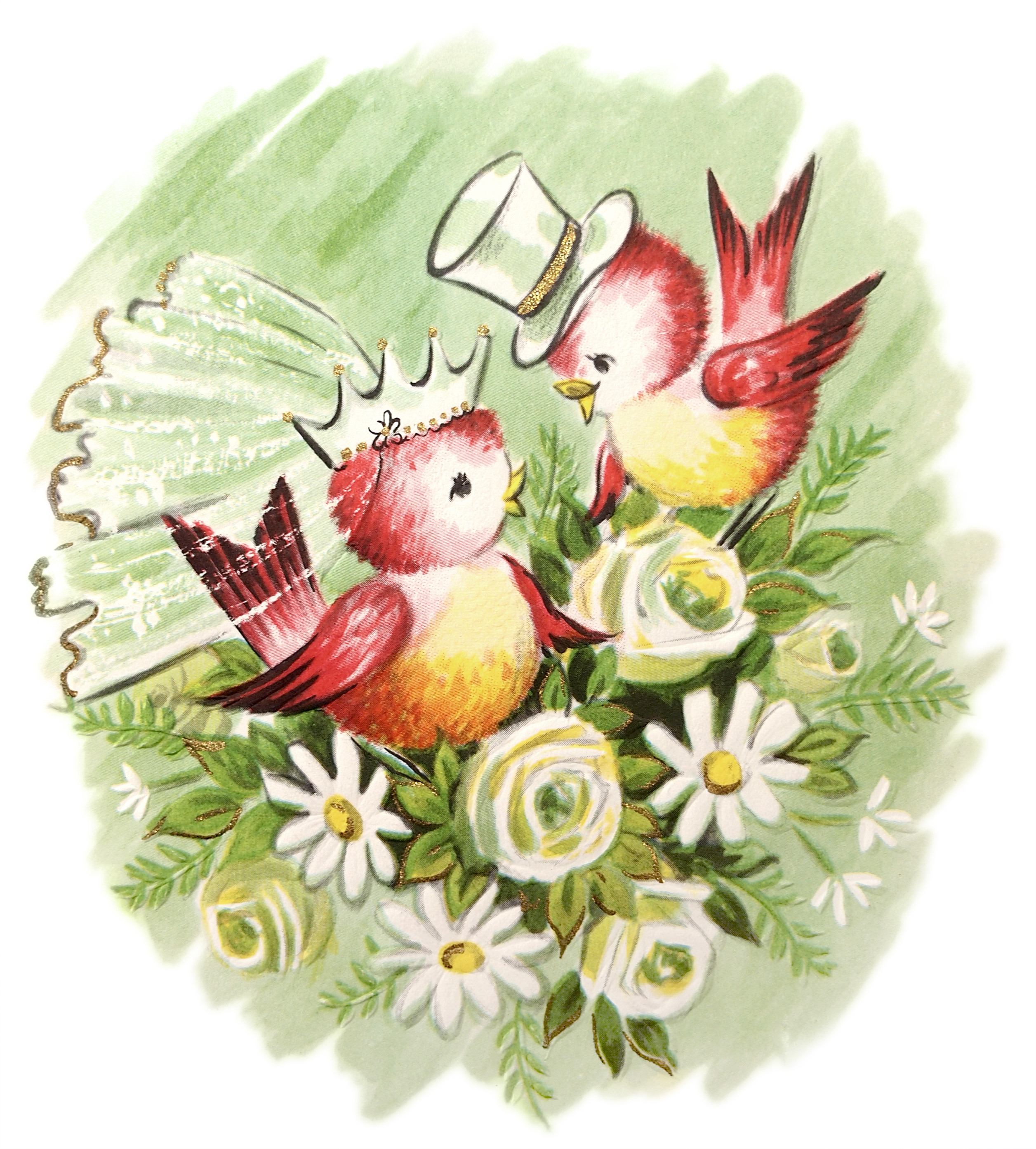 Here Is The High Res Free Vintage Love Birds Valentine For