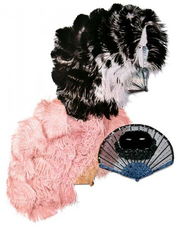 Vintage Costume Mask and Feathered Fans Clip Art