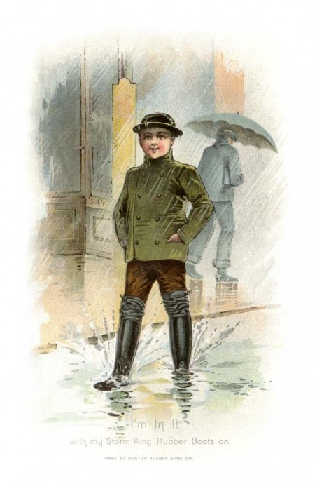 Vintage Rainy Day Rubber Boots Ad