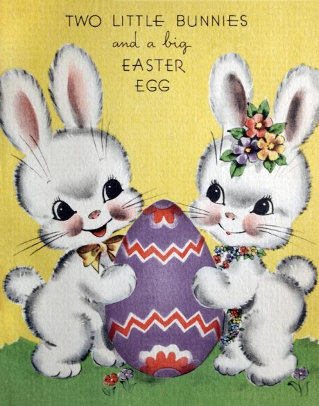 Cute Retro Easter Bunny Couple - Click for printable card