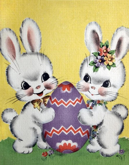 Cute Retro Easter Bunny Couple NO Message - Click for printable card