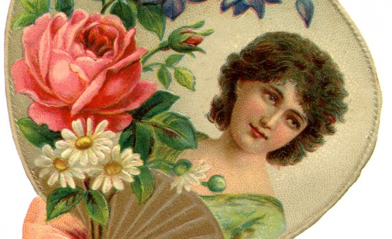 Era Woman With Flowers And Framed Hand Fan Ribbon