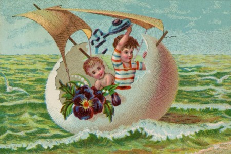 Another Victorian Era Easter Egg Boat Illustration - Click for printable art