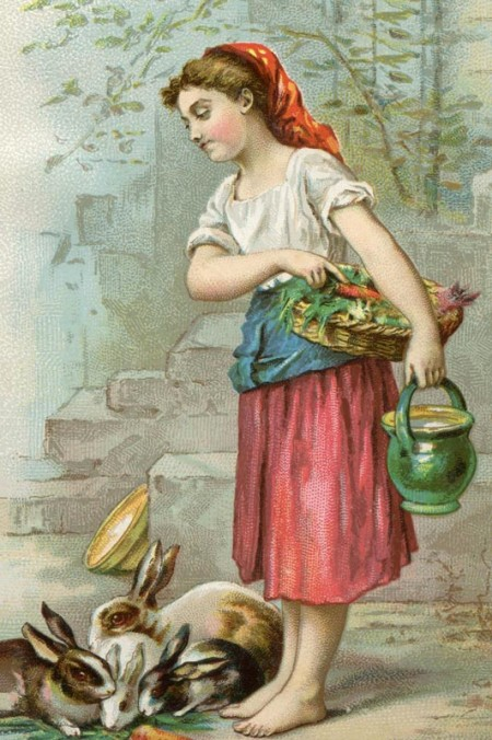Victorian Era Girl Feeding Rabbits - Click for printable picture
