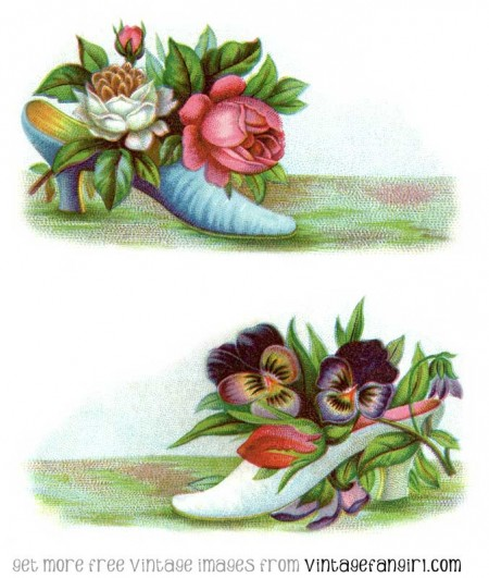 Victorian Shoes and Flowers Clip Art - Click for Larger Print Image