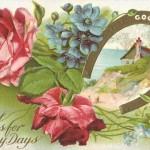 Beautiful Good Luck Horseshoes & Flowers Vintage Postcard