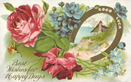 Antique Good Luck Horseshoe Postcard - Click for printable artwork
