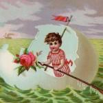 Beautiful Vintage Easter Eggshell Boat Whimsical Art