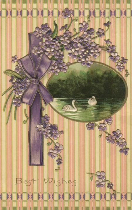 "Vintage Flowers and Swans ""Best Wishes"" Postcard from the Early 1900's - Click for printable art"