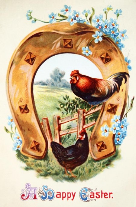 Beautiful Vintage Farm Chickens Happy Easter Postcard - Click for larger printable image