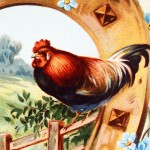 Colorful Vintage Easter Postcard with Farm Chickens