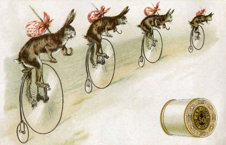 Antique Thread Trade Card with Bicycling Bunnies - Click for larger printable art