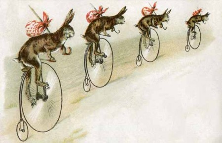 Antique Trade Card with Bicycling Bunnies NO Thread - Click for larger printable art