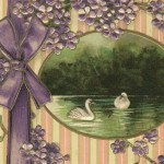 "Early 1900's Swan Lake and Lilacs ""Best Wishes"" Postcard"