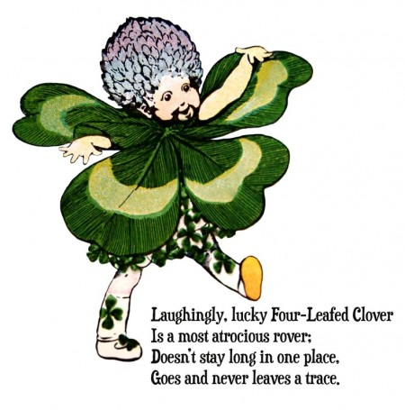 Vintage St. Patrick's Day Clover Leprechaun WITH Poem - Click for printable picture